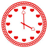 Logo clock heart. Love clock on white isolated royalty free illustration