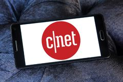 CNET media website logo. Logo of CNET media website on samsung mobile. CNET is an American media website that publishes reviews, news, articles, blogs, podcasts stock photography