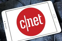 CNET media website logo. Logo of CNET media website on samsung tablet. CNET is an American media website that publishes reviews, news, articles, blogs, podcasts royalty free stock image