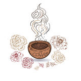 Logo coffee cup illustration for banner, menu in cafe, shop. Logo coffee cup illustration for banner, menu in shop Stock Photos
