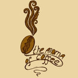 Logo coffee girl. Profile of a girl coffee bean aroma of coffee and inscription Royalty Free Stock Image