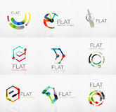 Logo collection - abstract minimalistic linear flat design. Business hi-tech geometric symbols, multicolored segments Royalty Free Stock Photos