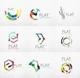 Logo collection - abstract minimalistic linear flat design. Business hi-tech geometric symbols, multicolored segments Royalty Free Stock Photos