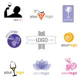 Logo collection: big set of logotypes for different companies. Modern logo design set: logotypes for different companies, as vintner, wine shop, wine house, wine Royalty Free Stock Images