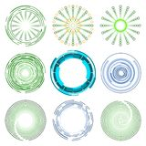 Logo Collection of Blue and Green Circle Shape Designs royalty free stock photo