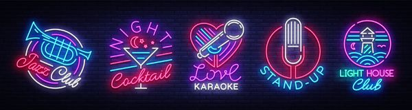 Logo collection in neon style. Neon Signs Collection Jazz Club, Night Cocktail, Karaoke, Stand Up, Lighthouse Night Club. Nightlife, neon signboard, bright Stock Photo