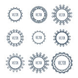 Logo collection. Round Ornament Pattern. Decorative elements. Hand drawn background. Royalty Free Stock Photography