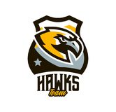 Logo coloré, autocollant, emblème d'un faucon Oiseau de vol, chasseur, prédateur, animal dangereux, bouclier, lettrage Mascotte illustration stock
