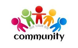 Logo coloré de la Communauté Logo social de personnes de media de réseau Logo créatif de travail d'équipe Élément lumineux de con Photographie stock
