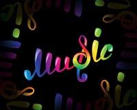 Logo coloré de vecteur de musique sur le noir Photographie stock
