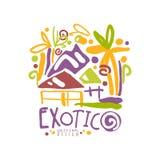 Logo coloré exotique de voyage de vacances d'été illustration stock
