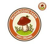 Logo coloré pour la ferme ou la société de champignon de Porcini Images stock