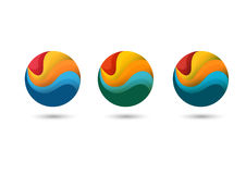 Logo with color tapes for business, web. With gradients stock illustration