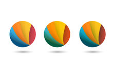 Logo with color tapes for business, web. With gradients shadows stock illustration