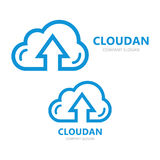 logo combination of a cloud and arrow up. royalty free illustration
