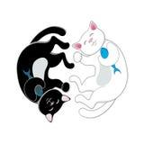 Logo con due gatti in bianco e nero che formano cerchio Fotografia Stock Libera da Diritti