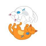 Logo con due rossi ed i gatti bianchi che formano cerchio Fotografia Stock Libera da Diritti