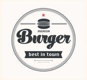 Logo con l'hamburger Fotografia Stock Libera da Diritti