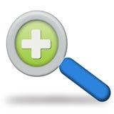 Logo con la lente d'ingrandimento Fotografia Stock