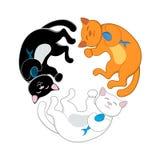 Logo con tre gatti del fumetto che formano un cerchio Fotografia Stock
