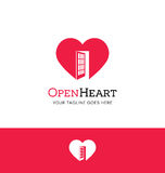 Logo concept. Heart with an open door Stock Photography