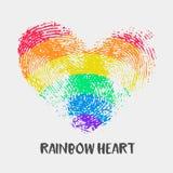 Logo conceptuel avec le coeur d'arc-en-ciel d'empreinte digitale illustration libre de droits