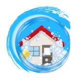 Logo conceptuel pour la maison propre La maison dans la mousse dans l'eau Photographie stock