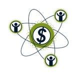 Logo concettuale del sistema finanziario, simbolo unico di vettore Dollaro s illustrazione vettoriale