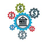 Logo concettuale di finanza e contare, simbolo unico di vettore Banki illustrazione di stock