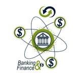Logo concettuale di finanza e contare, simbolo unico di vettore Banki illustrazione vettoriale