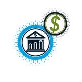 Logo concettuale di finanza e contare, simbolo unico di vettore Banki royalty illustrazione gratis
