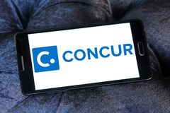 Concur Technologies logo. Logo of Concur Technologies on samsung mobile. Concur Technologies is an American SaaS company, providing travel and expense management Royalty Free Stock Photo