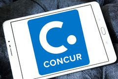 Concur Technologies logo. Logo of Concur Technologies on samsung tablet . Concur Technologies is an American SaaS company, providing travel and expense stock images