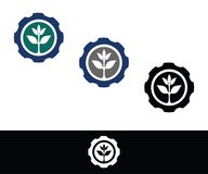 A logo consists of a gear with a small plant in it vector illustration