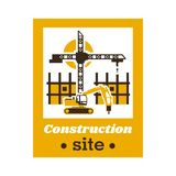 Logo of the construction site. Big crane, an unfinished building working excavator. Vector illustration. Flat style.  vector illustration