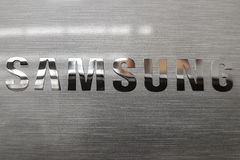 Logo coreano di elettronica di Samsung Fotografie Stock