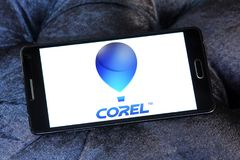 Corel Corporation logo. Logo of Corel Corporation on samsung mobile.  is a Canadian software company specializing in graphics processing. It is known for Stock Photography