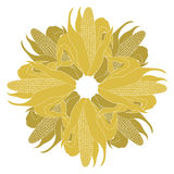 Logo Corn en la mazorca con las hojas Ilustración del vector Fotografía de archivo libre de regalías