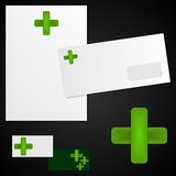 Logo and corporate identity. Stylized cross - logo for pharmacy Stock Photos