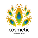 Logo for cosmetics in the form of a peacock feathe Stock Photography