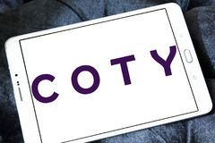 Coty beauty products manufacturer logo. Logo of Coty company on samsung tablet. Coty is a North American beauty products manufacturer. Its main products are Royalty Free Stock Images