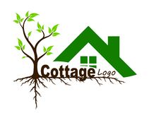 Logo of  country house with tree. Stock Images
