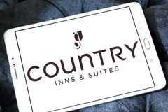 Country Inns and Suites logo. Logo of Country Inns and Suites on samsung tablet. Country Inns and Suites by Radisson is an American hotel brand owned by the stock image