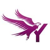 Logo courageux de Hawk Initial Y de pourpre de vecteur Photos stock