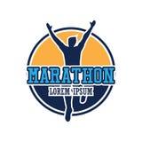 Logo courant de personnes/marathon, de sport et d'activité de course Images libres de droits