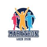 Logo courant de personnes/marathon, de sport et d'activité de course Image stock