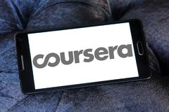 Coursera online education logo. Logo of Coursera on samsung mobile. Coursera is a venture backed, education focused technology company royalty free stock photography