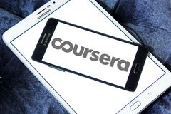 Coursera online education logo. Logo of Coursera on samsung mobile. Coursera is a venture backed, education focused technology company stock image
