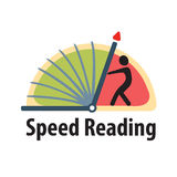 Logo for courses speed reading or words per minute test. Stock Photo