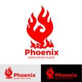 Logo créatif de logo de Phoenix d'oiseau mythologique Fenix, un oiseau unique illustration stock